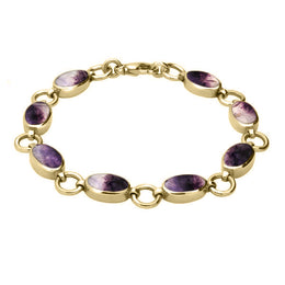 Blue John Oval Links 9ct Yellow Gold Bracelet. B190.