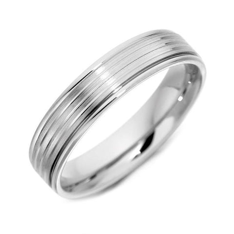 Palladium 5mm Engraved Wedding Ring
