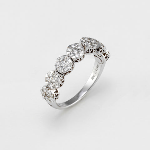 Ponte Vecchio Ring Six Diamond Cluster 18ct White Gold