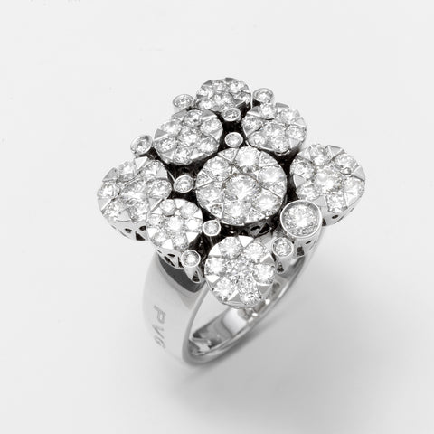Ponte Vecchio Ring White Gold And Diamond Cluster