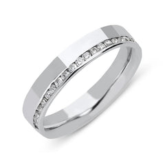 18ct White Gold 0.22ct Diamond 4mm Wedding Ring