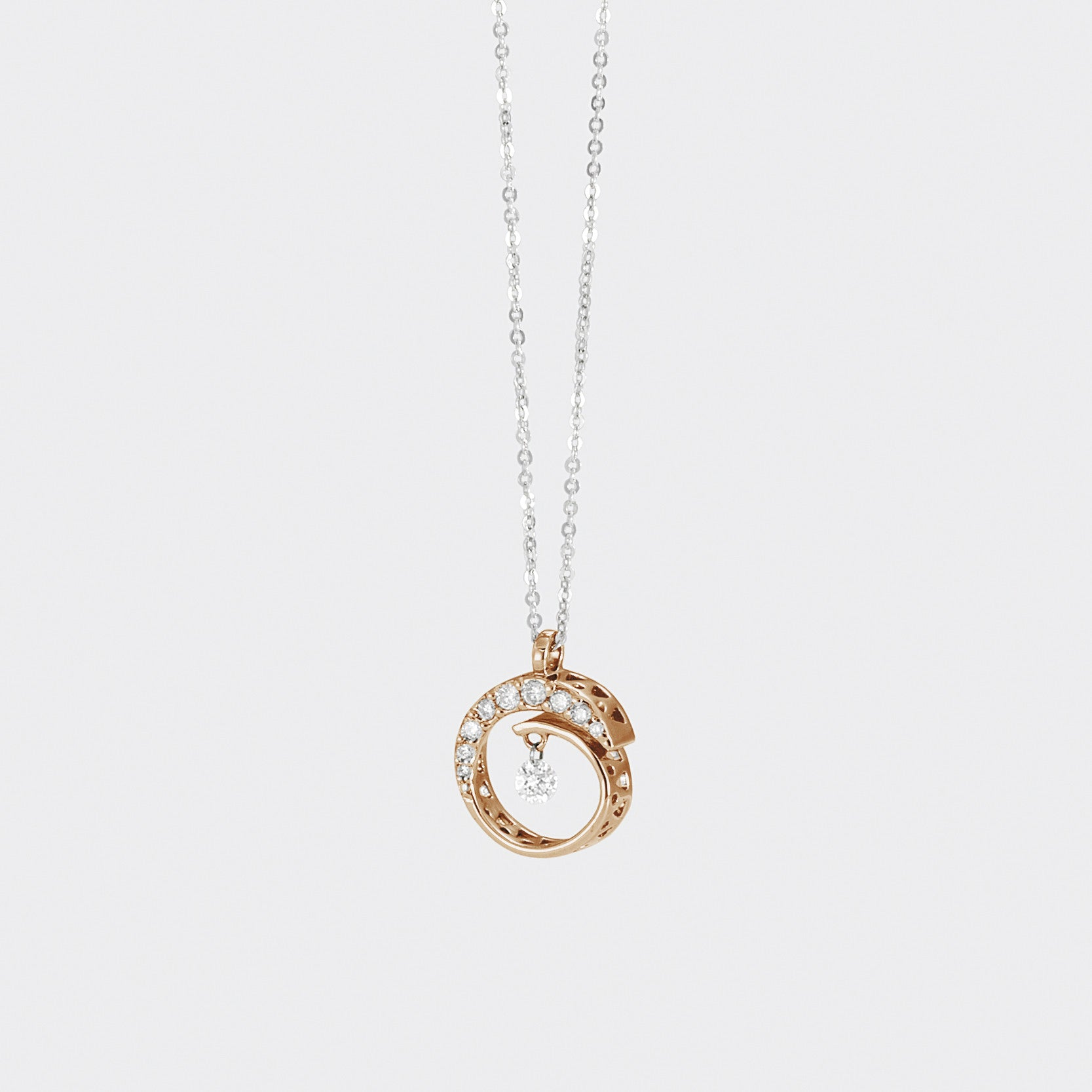 Ponte Vecchio Necklace Open Design Diamond 18ct Rose Gold