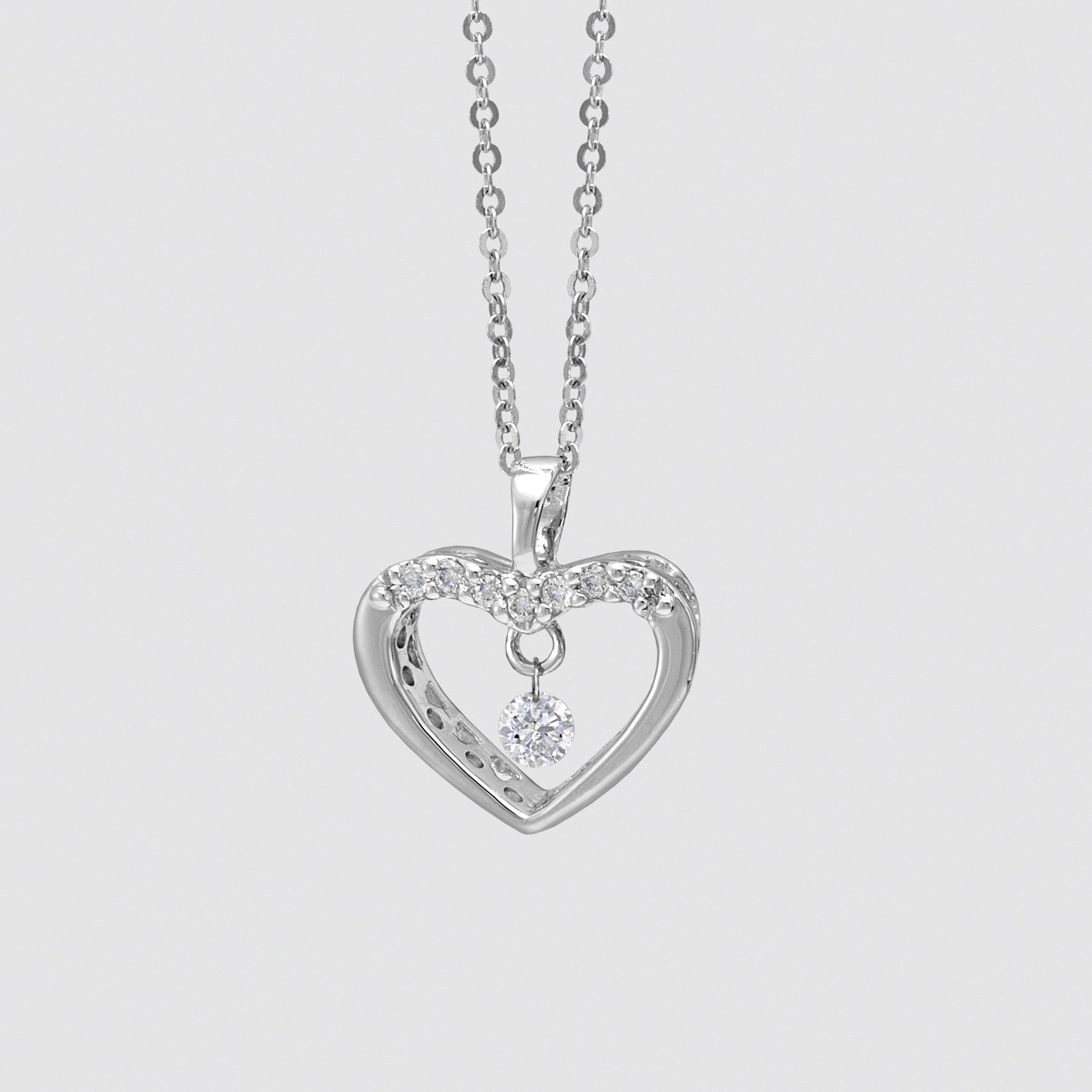 Ponte Vecchio Necklace Heart Diamond 18ct White Gold