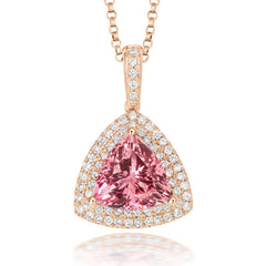 18ct Rose Gold Morganite Diamond Trillion Cut Cluster Necklace