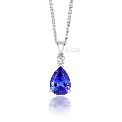 18ct White Gold Tanzanite and Diamond Tear Drop Necklace