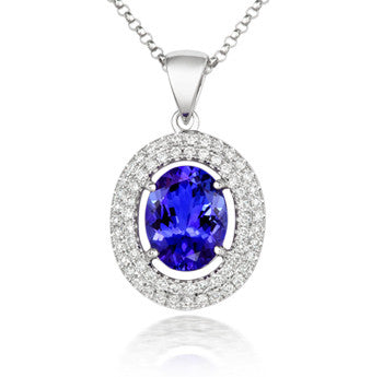18ct White Gold Tanzanite and Diamond Halo Necklace