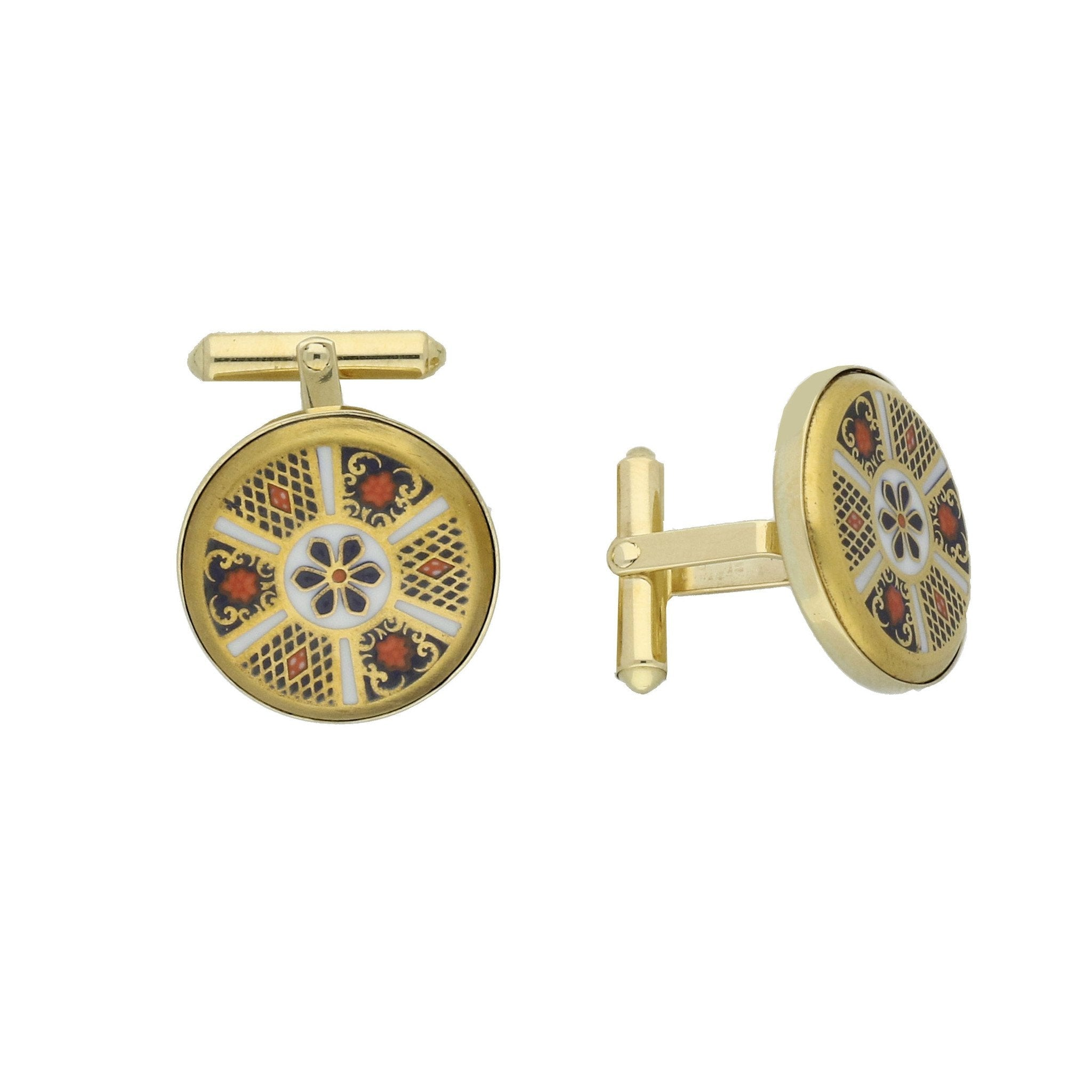 18ct Yellow Gold Royal Crown Derby Imari Cufflinks