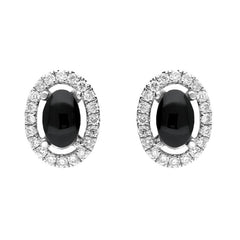 18ct White Gold 0.23ct Diamond Whitby Jet Oval Stud Earrings