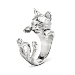 Cat Fever Sterling Silver European Hug Ring