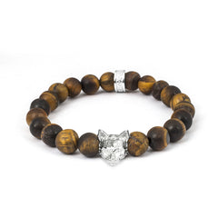 Cat Fever Sterling Silver Tiger's Eye Norwegian Forest Cat Bracelet