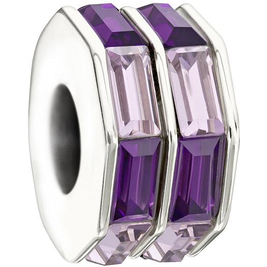 Chamilia Sterling Silver Purple White Crystal Double Baguette Charm D