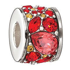 Chamilia Sterling Silver Red Crystal Mosaic Chianti Charm D