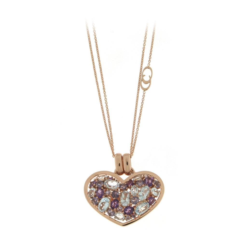Chimento Amore 18ct Rose Gold Multi Stone Heart Necklace D
