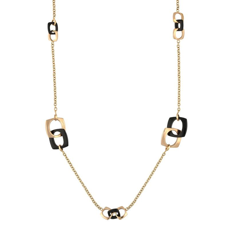 18ct Rose Gold Whitby Jet 0.03ct Diamond Necklace