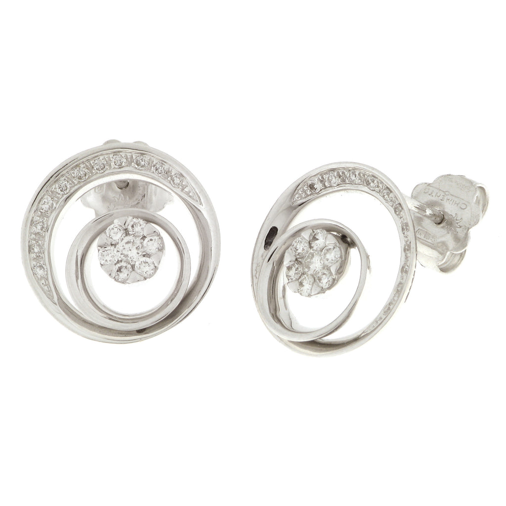 Chimento Fleur 18ct White Gold 0.42ct Diamond Orbital Earrings D