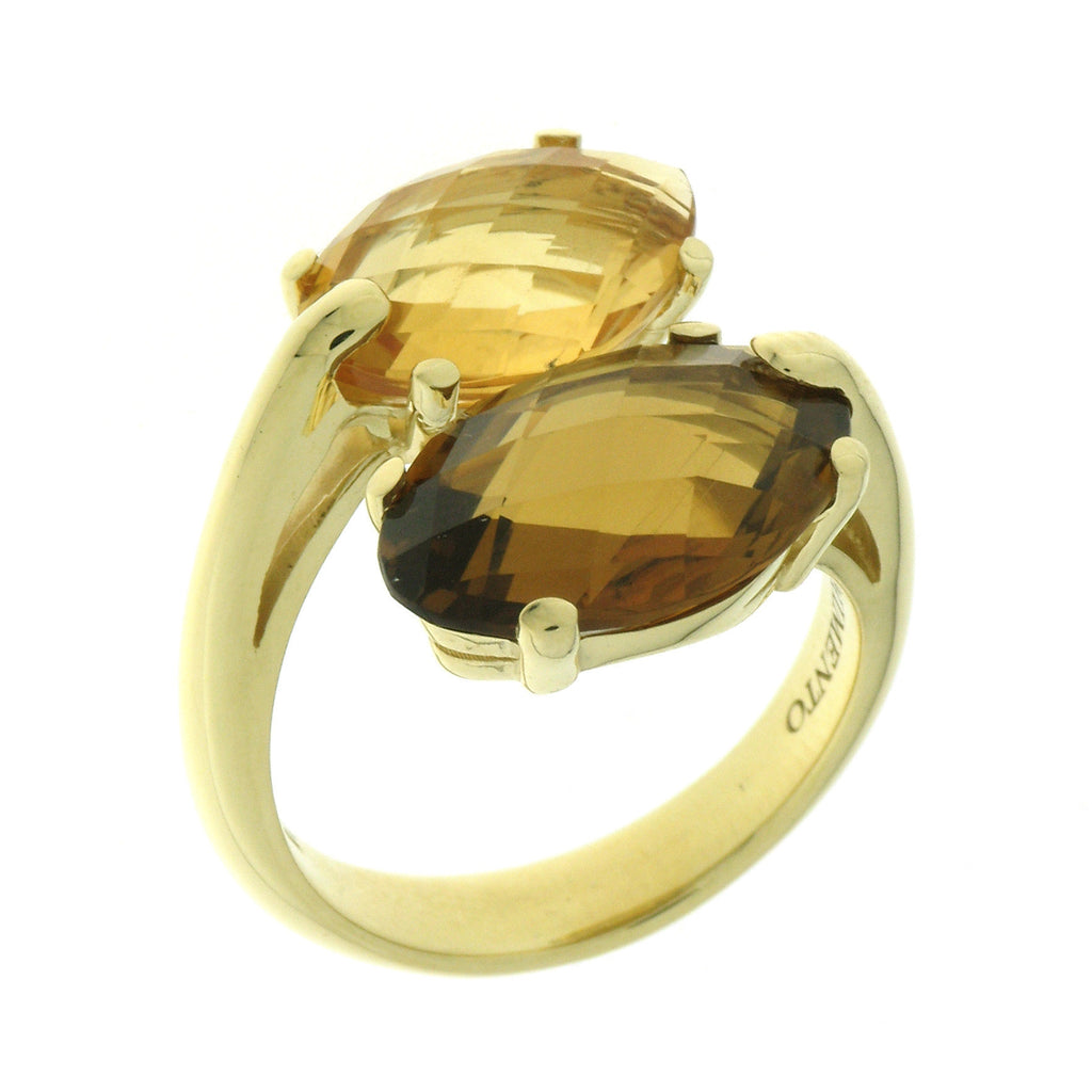 Chimento Marquise 18ct Yellow Gold Quartz Twist Ring D