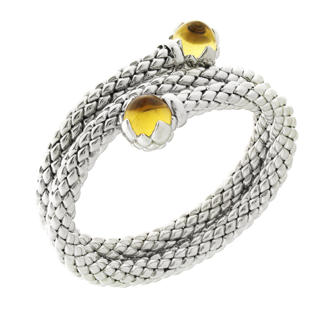 Chimento Stretch Sterling Silver Round Yellow Quartz Bracelet D