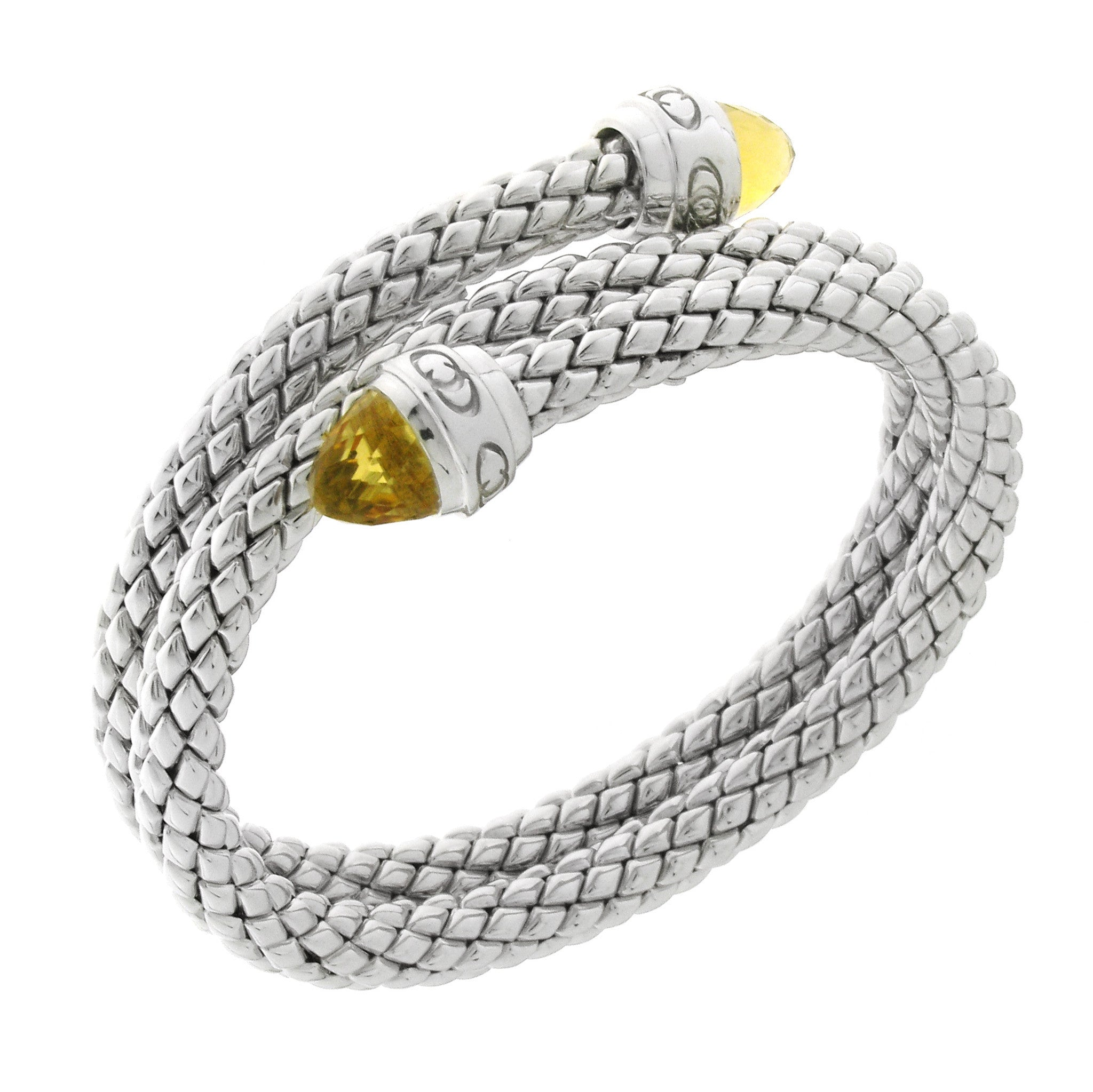 Chimento Stretch Sterling Silver Yellow Quartz Bracelet D