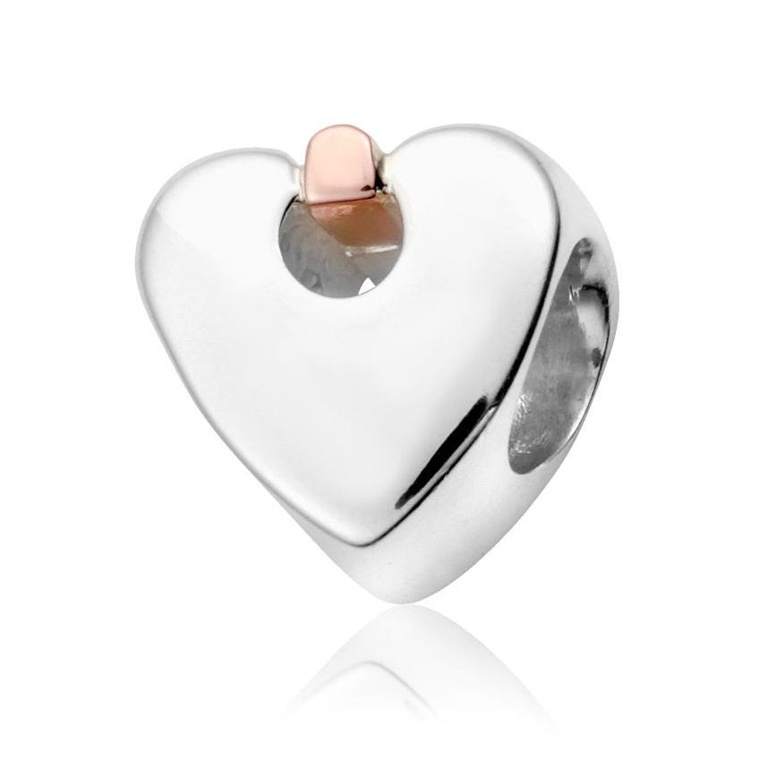 Clogau Cariad Sterling Silver Rose Gold Heart Charm