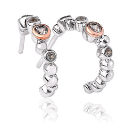 Clogau Celebration Sterling Silver Topaz Half Hoop Earrings, 3SMHE5.