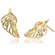 Clogau Debutante 9ct Yellow Gold Feather Stud Earrings, DBFE.