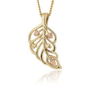 Clogau Debutante 9ct Yellow Gold Feather Necklace, DBFP.