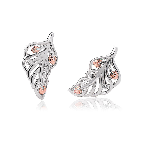 Clogau Debutante Sterling Silver Feather Stud Earrings 3SDBFE