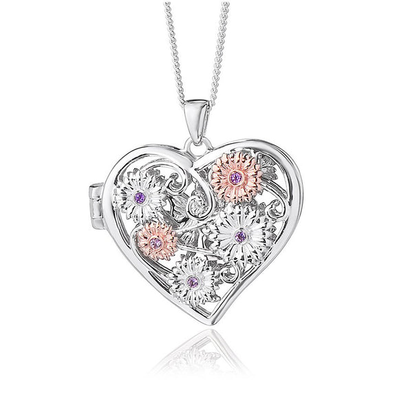 Clogau Fairy Sterling Silver Amethyst Heart Necklace, 3SFFLP6.