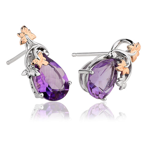 Clogau Great Vine 18ct Gold Amethyst Earrings