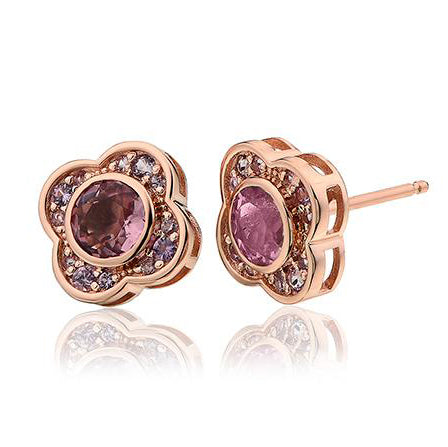 Clogau Jewel Bloom 9ct Rose Gold Pink Tourmaline Stud Earrings, MGE.