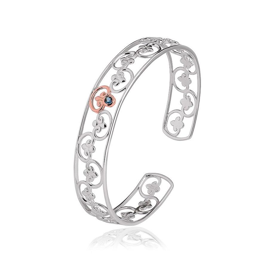 Clogau Kennsington Palace Sterling Silver 9ct Rose Gold Topaz Bangle