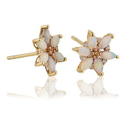 Clogau Lady Snowdon 9ct Yellow Gold Opal Flower Stud Earrings