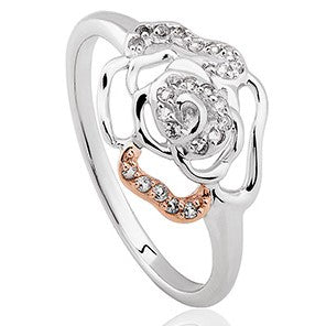 Clogau Royal Roses Sterling Silver White Topaz Ring