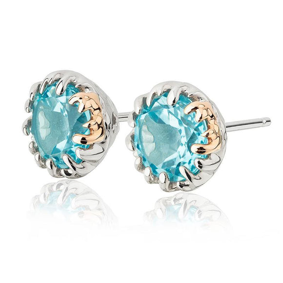 Clogau Salacia Sterling Silver 9ct Rose Gold Blue Topaz Stud Earrings 3SARPSE