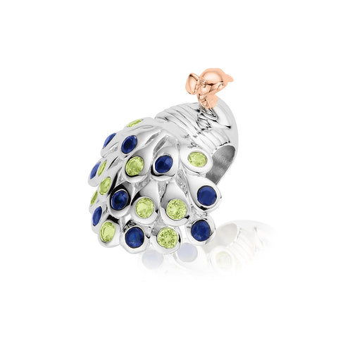 Clogau Secret Garden Sterling Silver Gold Peridot Topaz Peacock Charm