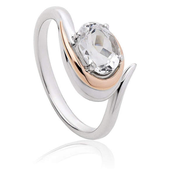 Clogau Serenade Sterling Silver White Topaz Ring, 3SEMPR.