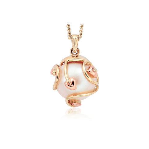 e8e37699c6416 Clogau Tree Of Life 9ct Yellow Rose Gold Caged Pearl Necklace D