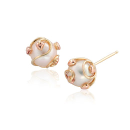 Clogau Tree Of Life 9ct Yellow And Rose Gold Pearl Caged Earrings TOLCPE