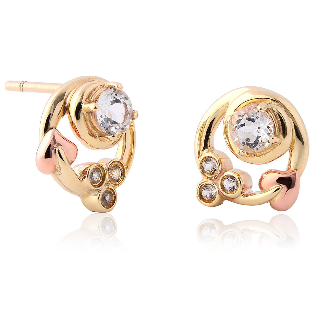 genuine earrings round gold stud topaz white blue swiss