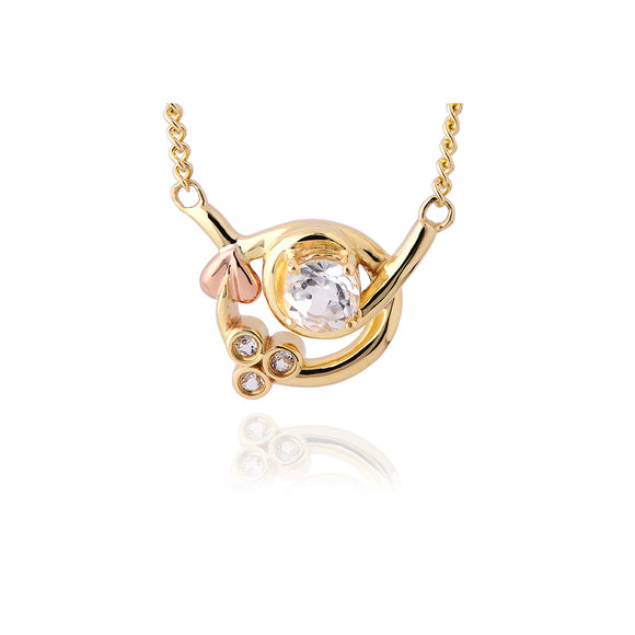 Clogau Tree Of Life Origin 9ct Yellow And Rose Gold White Topaz Necklace ENGTOLP6