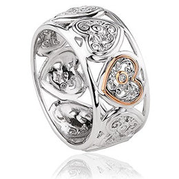 Clogau Tree of Life Sterling Silver Diamond Wide Ring