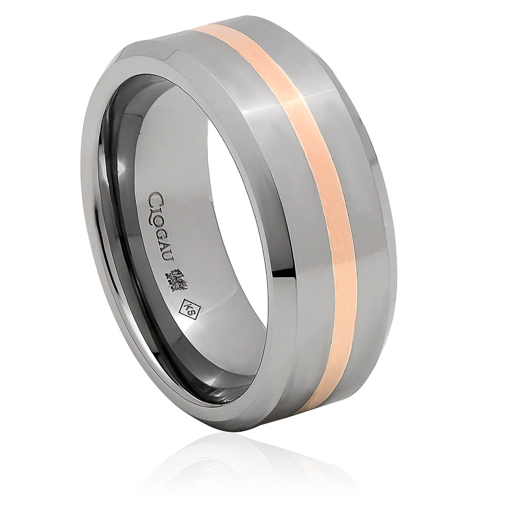 Clogau Tungsten 1.5mm Rose Band Ring D