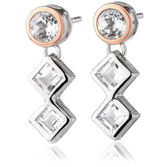 Clogau Welsh Royalty Silver and White Topaz Drop Earrings 3SQAE