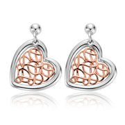 Clogau Welsh Royalty Sterling Silver Heart Earrings. 3SWHHE2.