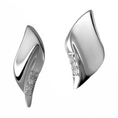Hot Diamonds Earrings Simply Sparkle Pave Leaf Silver