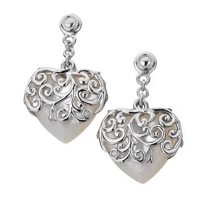 Hot Diamonds Earrings Wild Roses Love Heart Mother of Pearl Silver