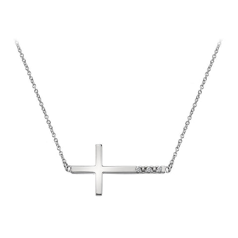 Hot Diamonds Necklace Sideways Cross Silver