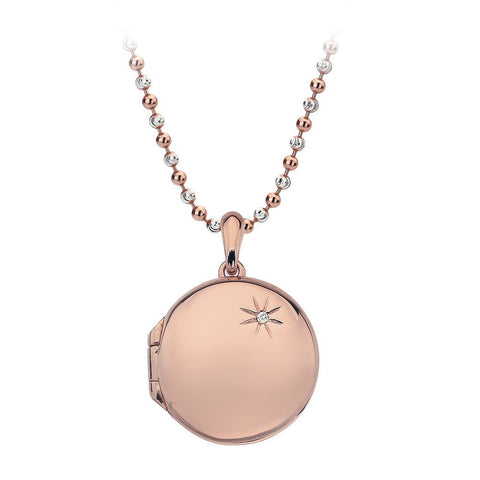 Hot Diamonds Necklace Memoirs Circle Locket Rose Gold