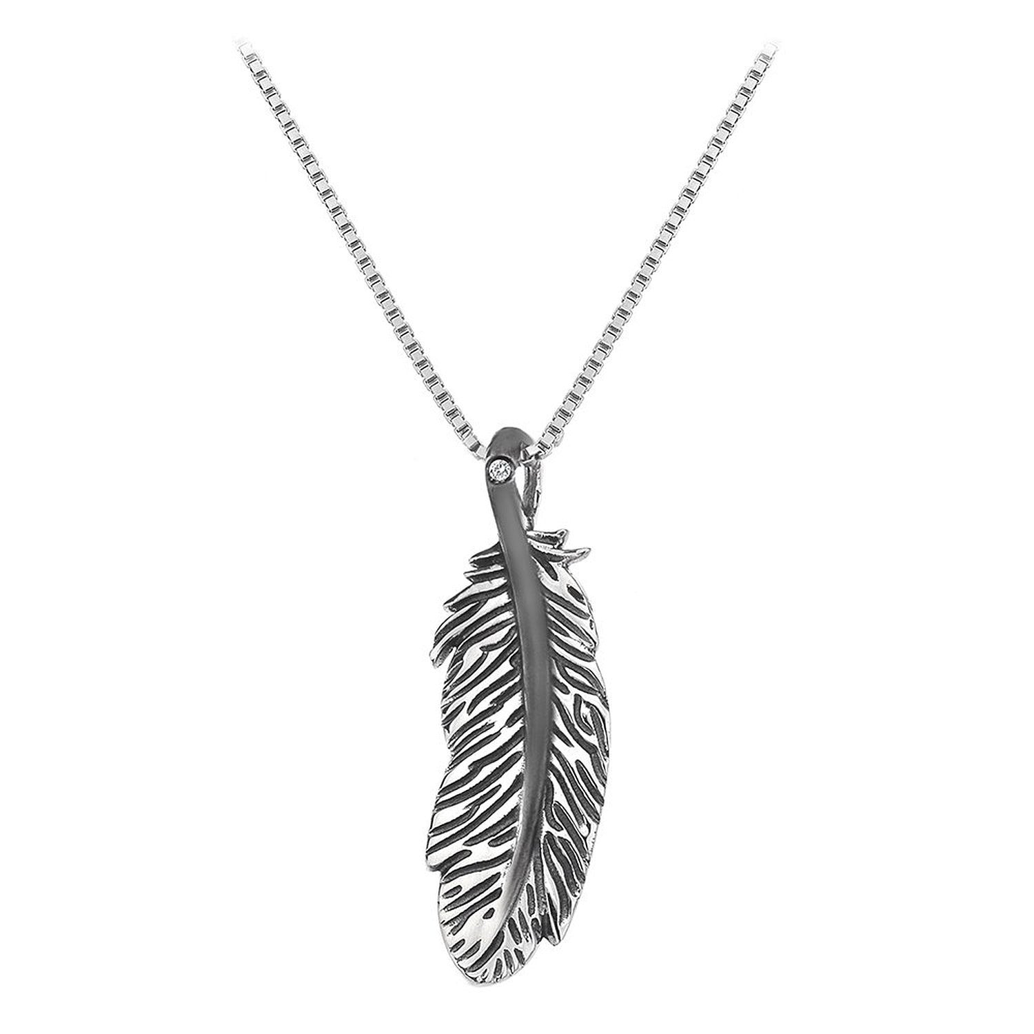 Hot Diamonds Necklace Feather Silver And Diamond