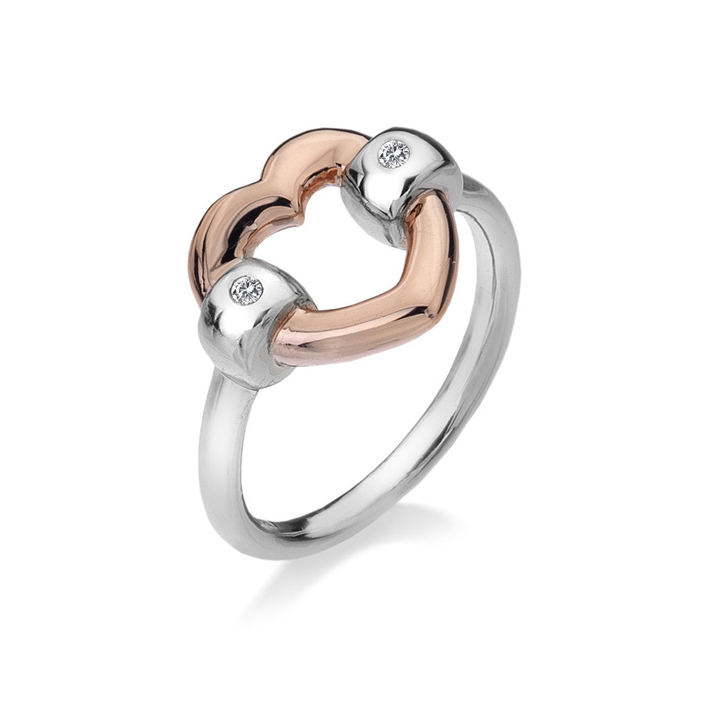 Hot Diamonds Ring Bonded Heart Diamonds D